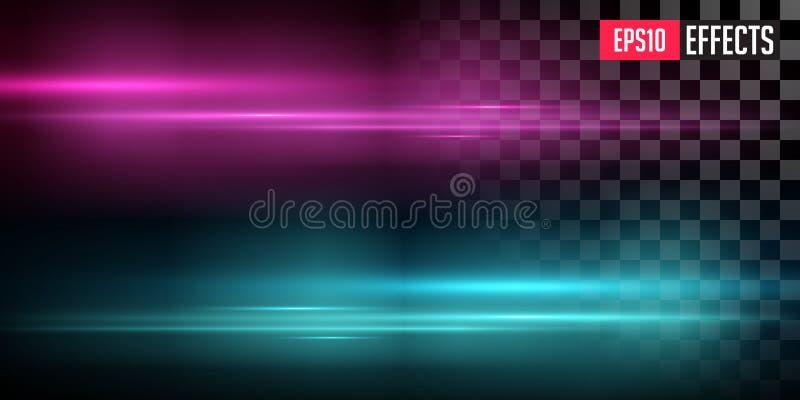Pourpre et fus?es bleues de lentille avec strier la d?formation Rougeoyer embrument l'effet de la lumi?re transparent Illustratio photos libres de droits