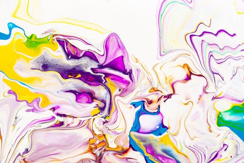 Pourpre et texture marbrée abstraite vibrante jaune Fond vibrant, coloré, liquide, liquide d'art image stock