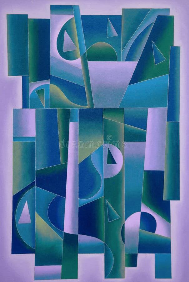 Pourpre géométrique d'art de Digital, bleu de greensand illustration stock