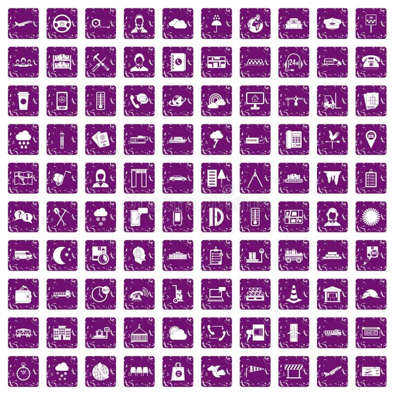 100 pourpre grunge réglé d'expéditeur par icônes illustration stock