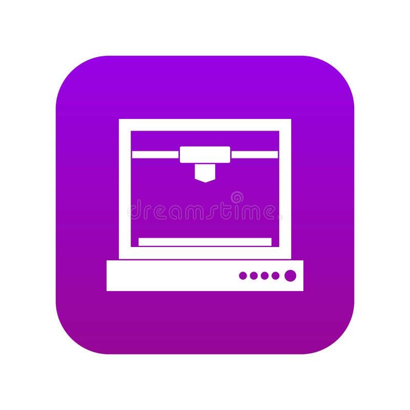 pourpre numérique d'icône modèle de l'imprimante 3d illustration de vecteur