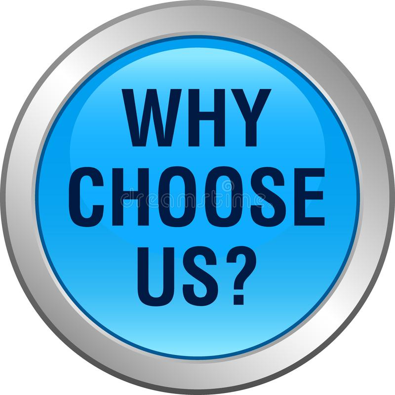 Pourquoi choisissez-nous bouton illustration stock