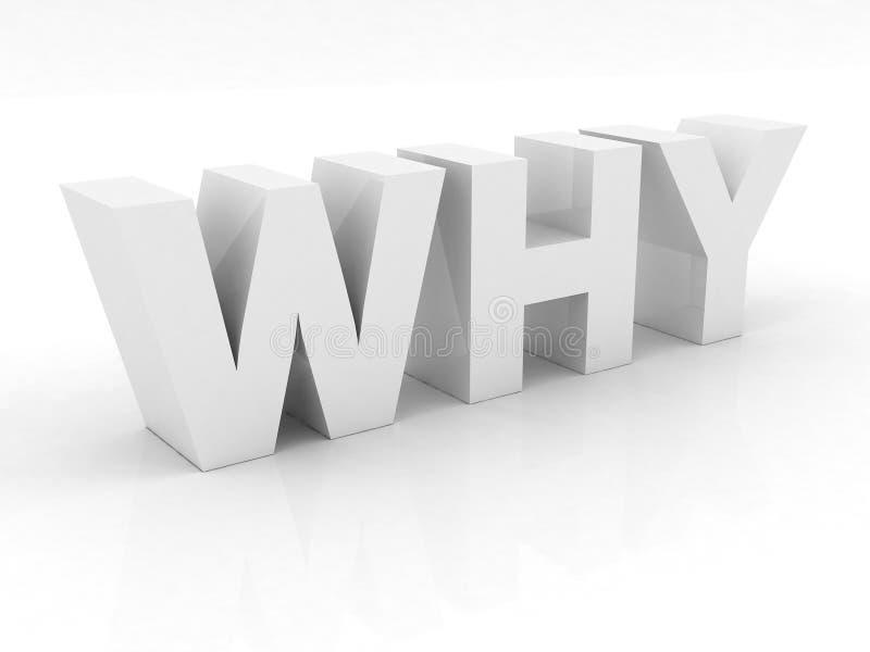 Pourquoi texte dans 3D - couleur blanche illustration libre de droits