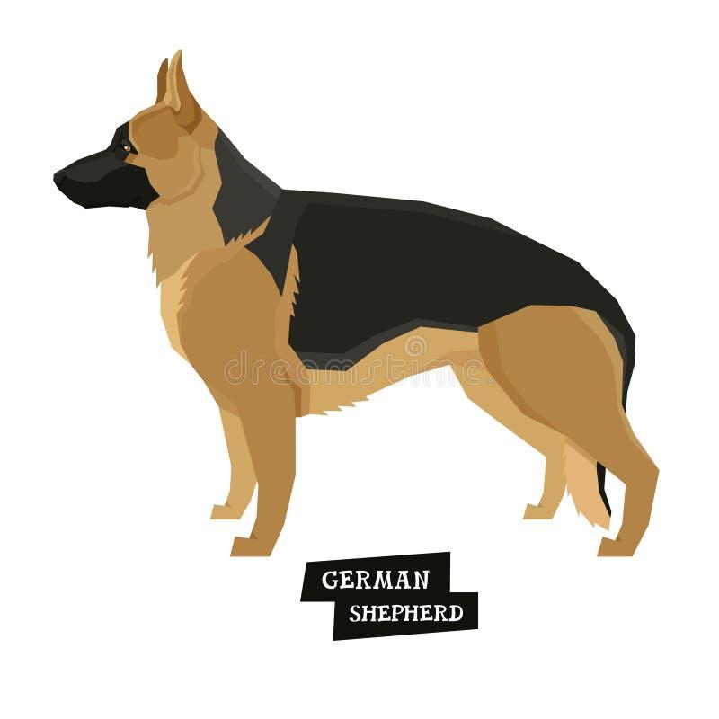 Poursuivez l'objet d'isolement par style de Geometric de berger allemand de collection illustration libre de droits