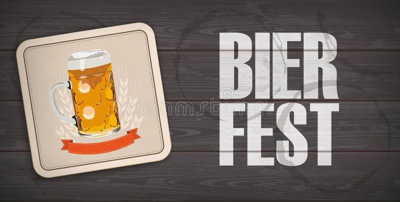 Pousa-copos de madeira escura Bierfest da cerveja do chanfro do fundo ilustração stock