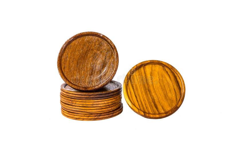 Pousas-copos de vidro de madeira fotografia de stock royalty free