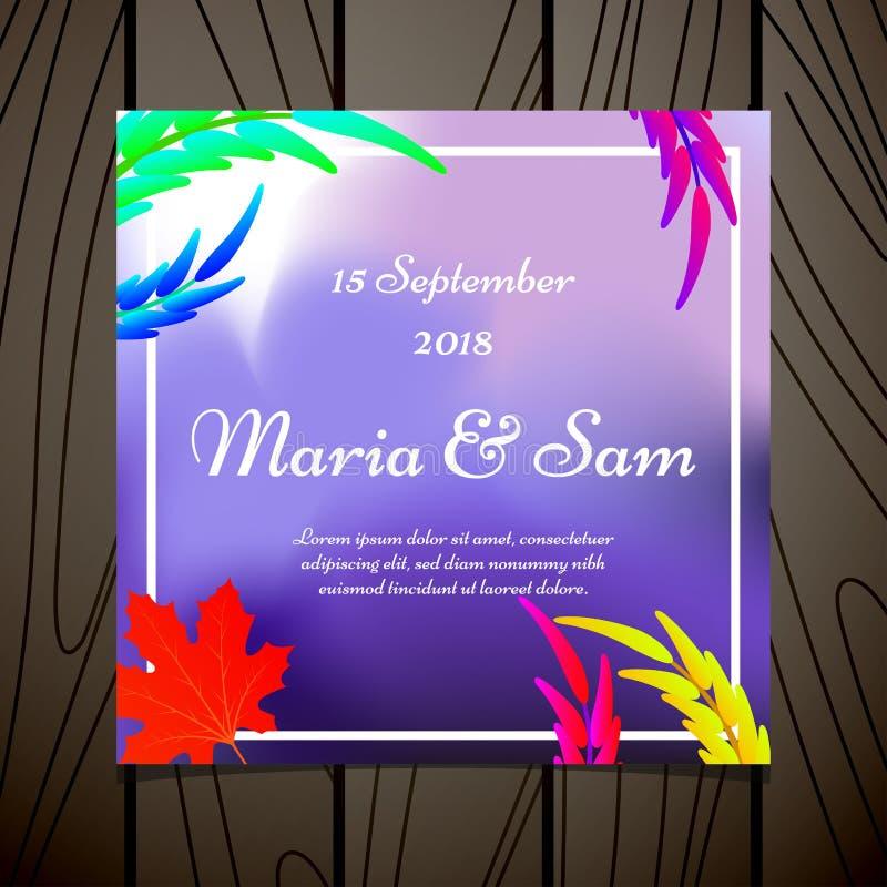 ?pouser le calibre floral de carte d'invitation avec l'aquarelle laisse l'illustration de vecteur de conception illustration de vecteur