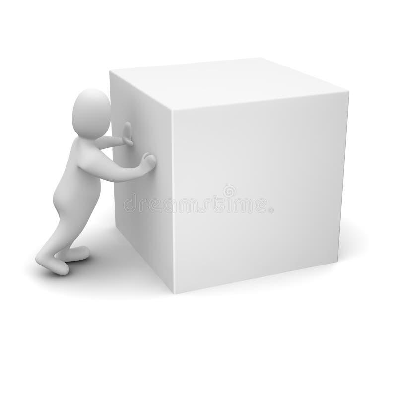 poussée blanc d'homme de cube illustration libre de droits
