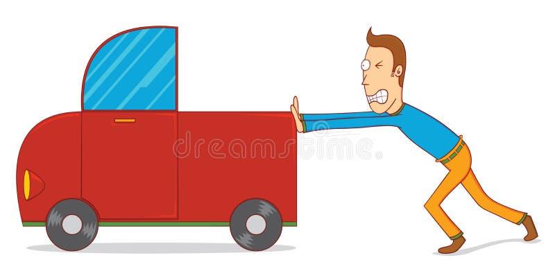 Poussée d'un véhicule illustration de vecteur