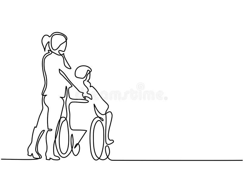 Poussée de jeune femme le vieil homme sur le fauteuil roulant illustration stock