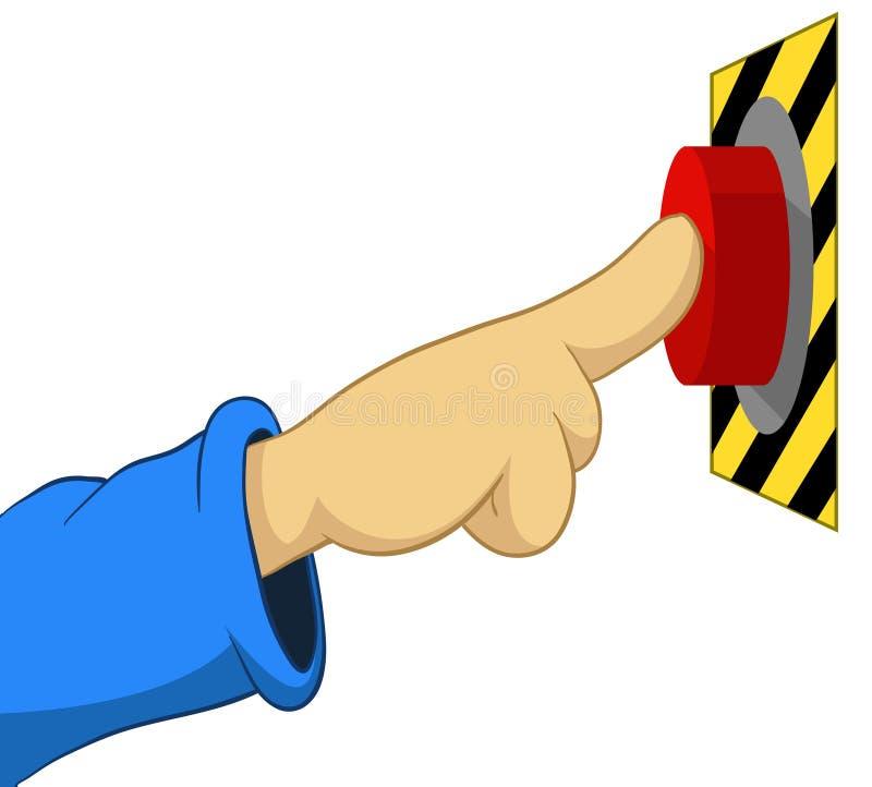 Poussée de main de dessin animé le bouton illustration libre de droits