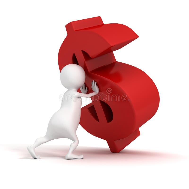 poussées de l'homme 3d à lever symbole rouge du dollar illustration stock
