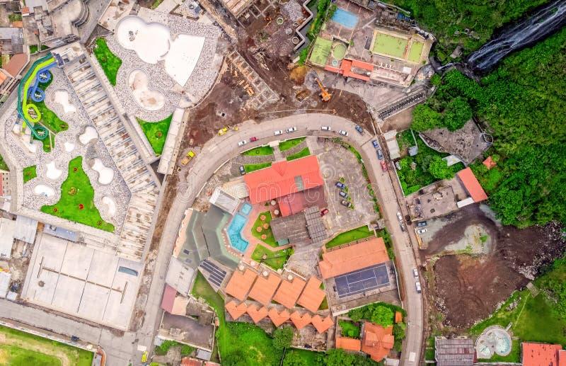 Pousse aérienne de Banos De Agua Santa, Equateur photographie stock libre de droits