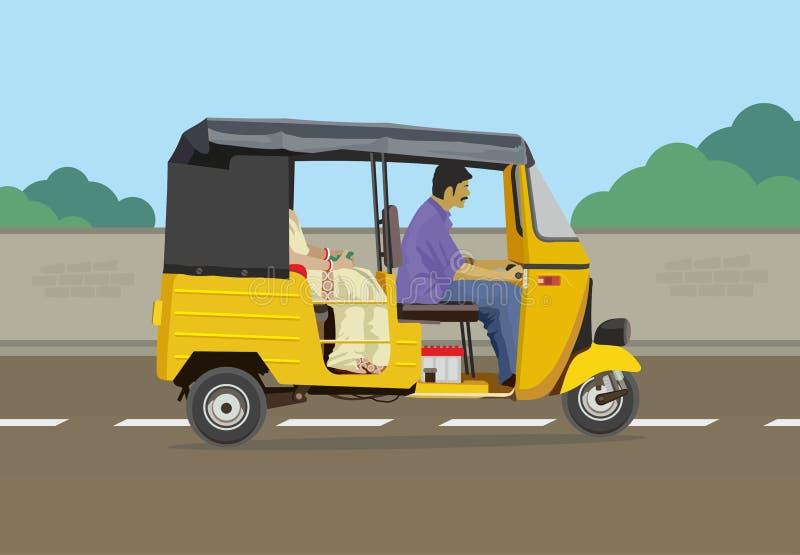 Pousse-pousse automatique avec le paysage urbain illustration de vecteur