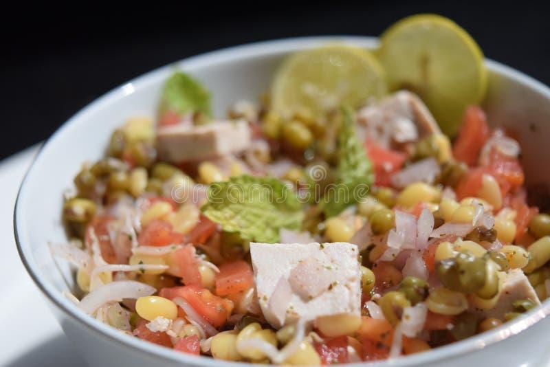 Pousse, chaux, tofu, oignon et tomates de fèves de mung de salade image stock