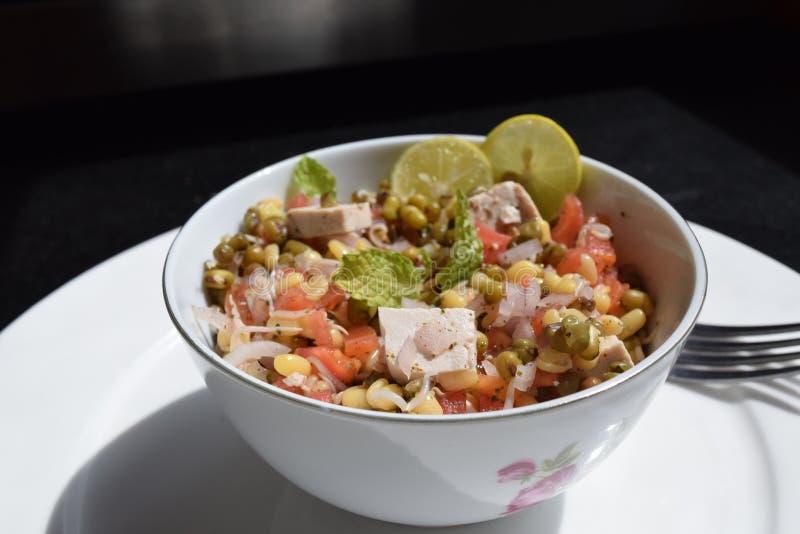 Pousse, chaux, tofu, oignon et tomates de fèves de mung de salade photo libre de droits