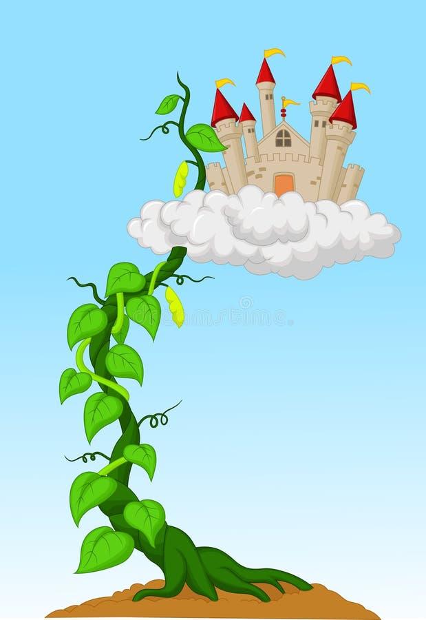 Pousse de haricot avec le château dans les nuages illustration stock