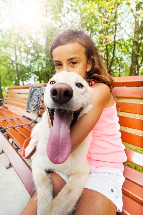 Pousse grande-angulaire de chien drôle avec le propriétaire heureux images libres de droits