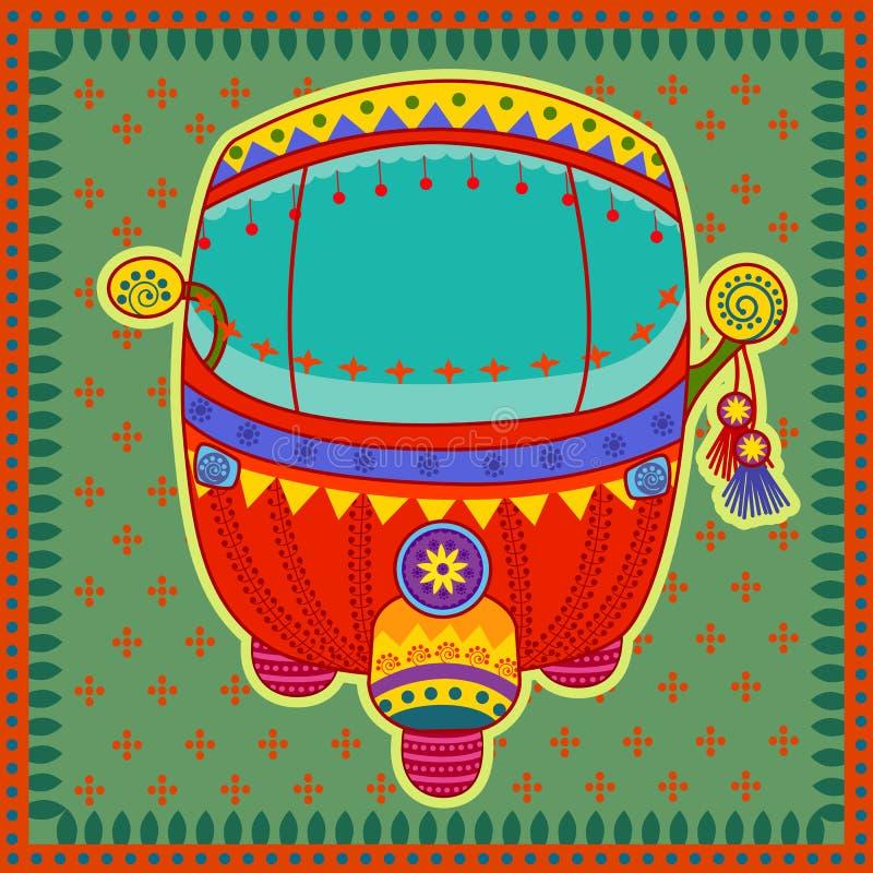 Pousse-pousse automatique dans le style indien d'art illustration stock