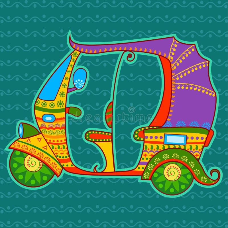 Pousse-pousse automatique dans le style indien d'art illustration de vecteur