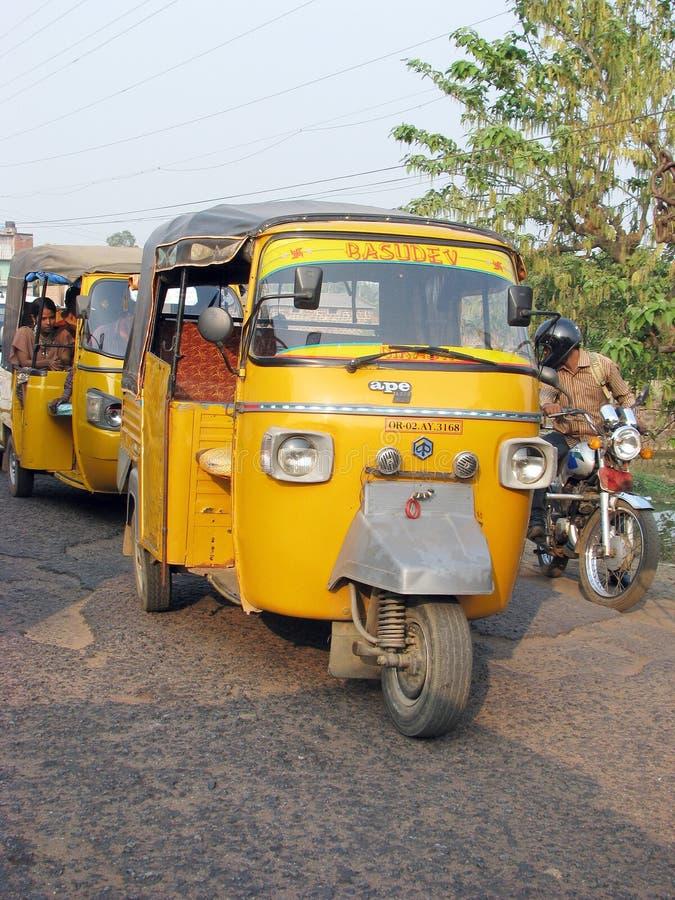 Pousse-pousse automatique indien de Piaggio de singe photos stock