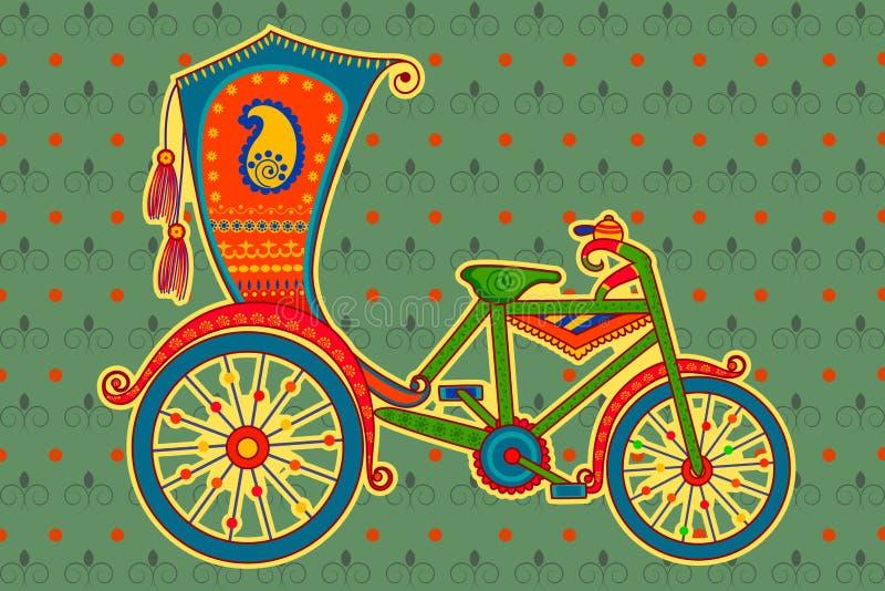 Pousse-pousse de cycle dans le style indien d'art illustration libre de droits