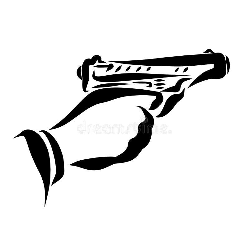 Pousses d'homme un pistolet, une main et une arme à feu illustration stock