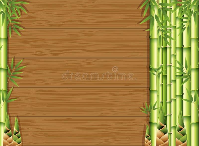 Pousses en bambou et de bambou sur le fond en bois illustration stock