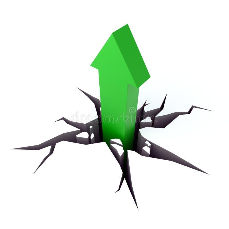 Pousses vertes de flèche par la terre illustration libre de droits