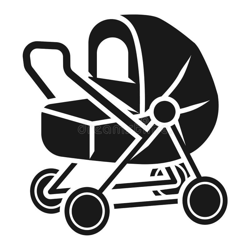 Poussette de bébé avec l'icône de tente, style simple illustration libre de droits