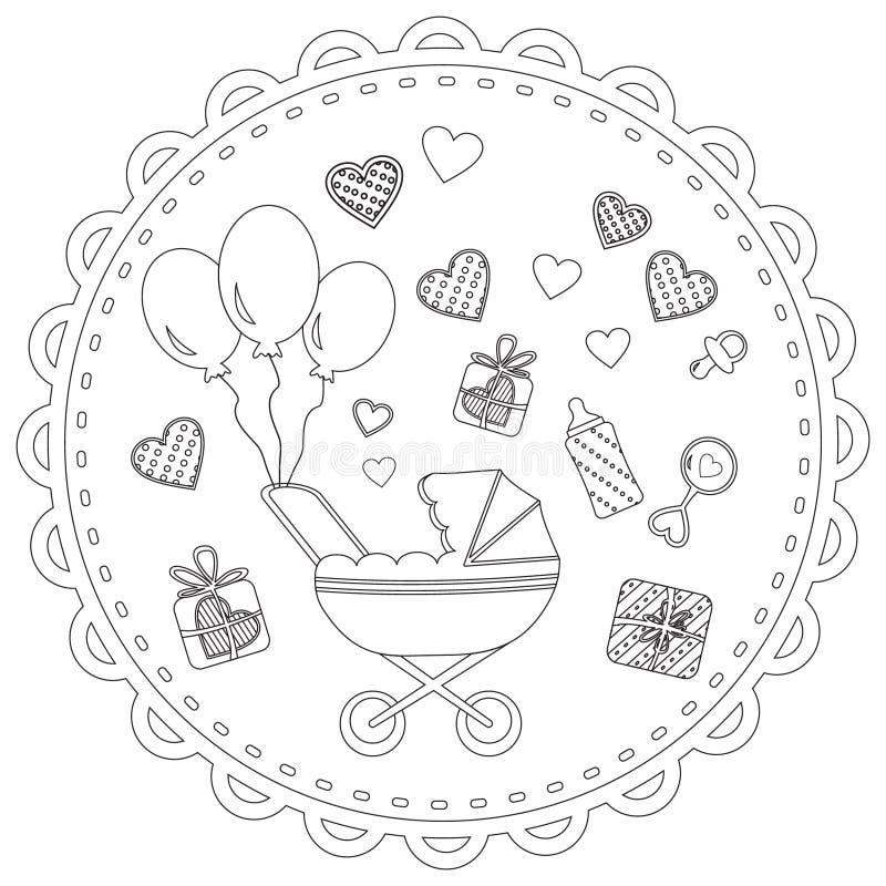 Poussette de bébé et coeurs, livre de coloriage illustration stock