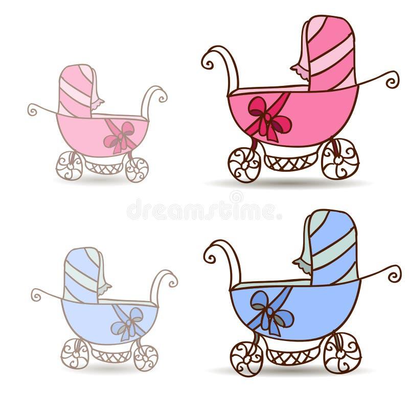 Poussette de bébé pour des filles et des garçons illustration libre de droits