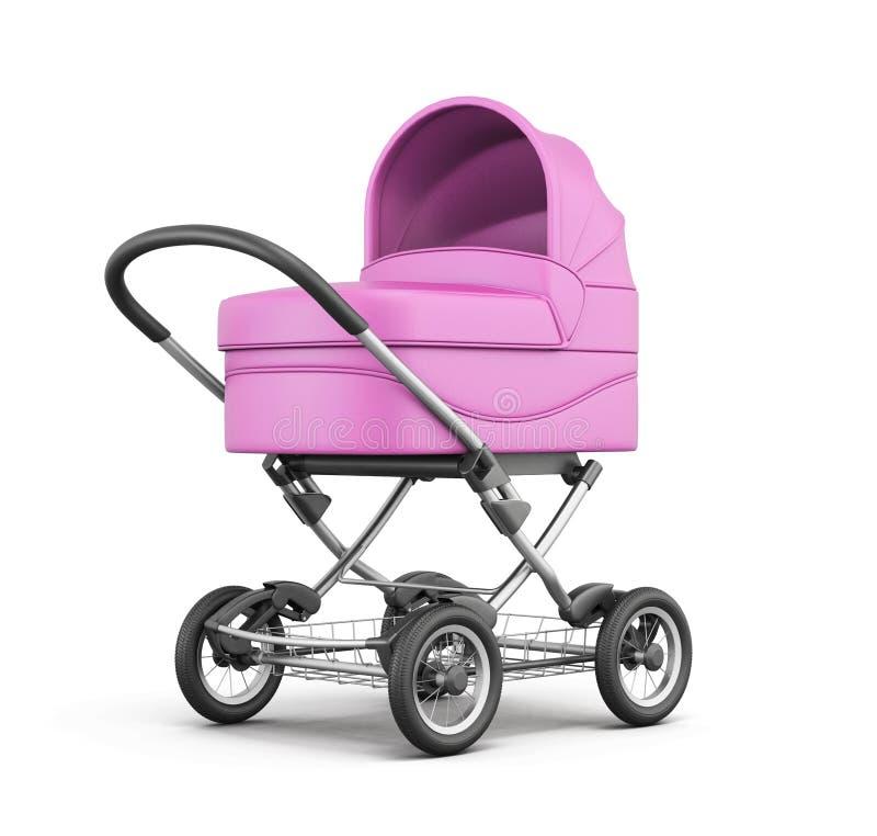 Poussette de bébé rose d'isolement sur le fond blanc rendu 3d illustration stock