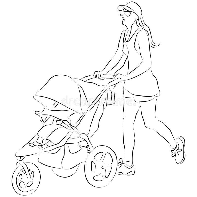 Poussette de ch ri de pusing de maman illustration de - Poussette dessin ...