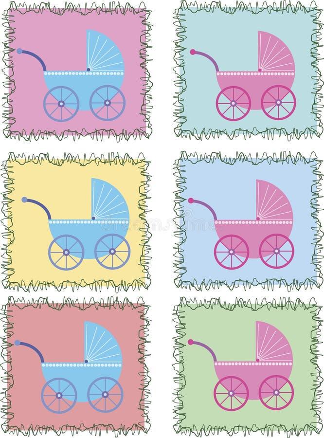 Poussettes dans les trames colorées illustration stock