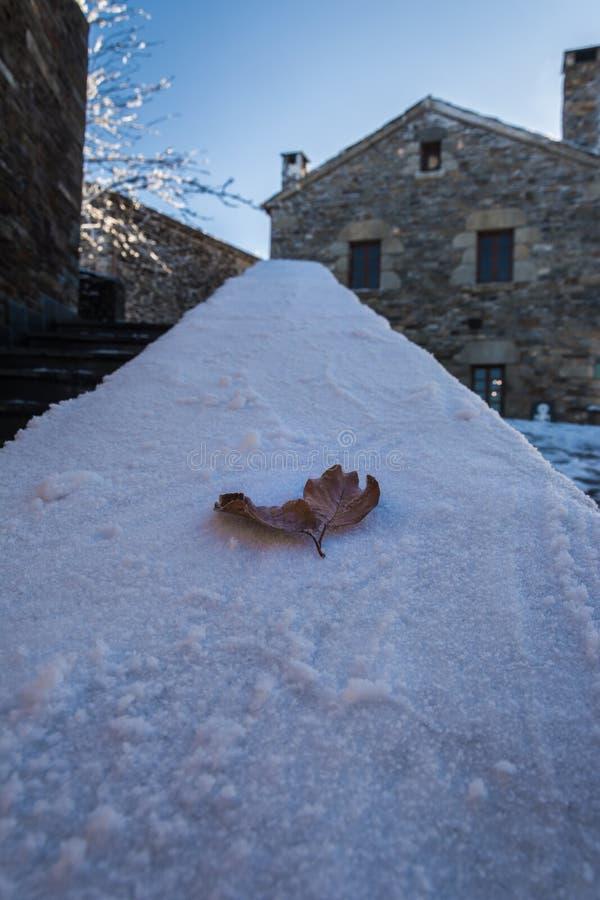 Poussez des feuilles au-dessus de la neige, dans un village rural photo stock