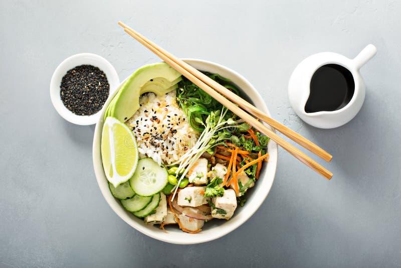 Poussez la cuvette avec le tofu, le riz et les légumes de soie photos libres de droits