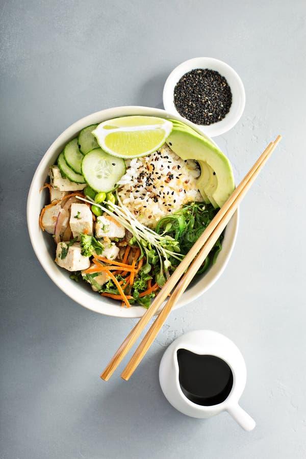 Poussez la cuvette avec le tofu, le riz et les légumes de soie image libre de droits