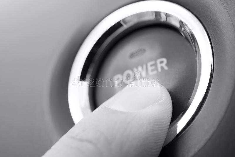 Poussez le bouton de pouvoir photographie stock libre de droits