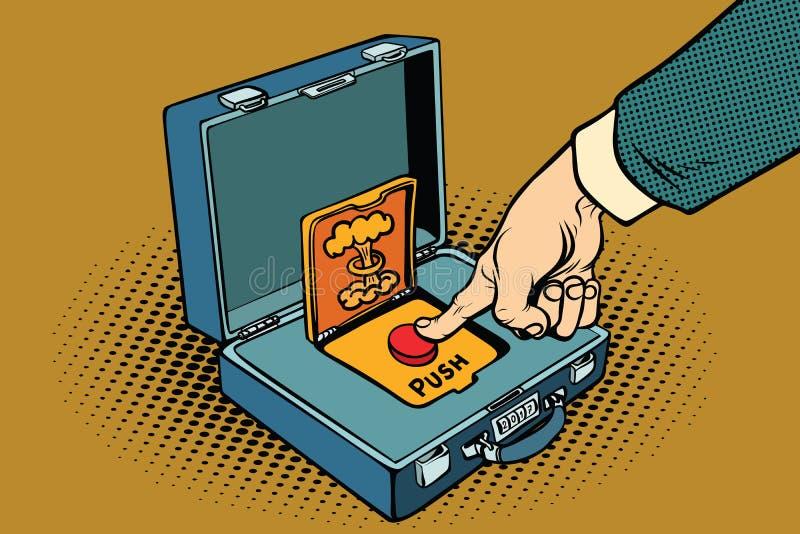 Poussez le bouton rouge nucléaire illustration de vecteur
