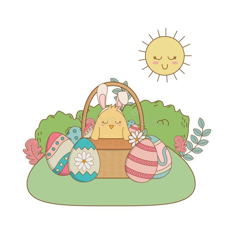 Poussin avec le lapin d'oreilles dans le panier et la scène de jardin peinte par oeufs illustration de vecteur