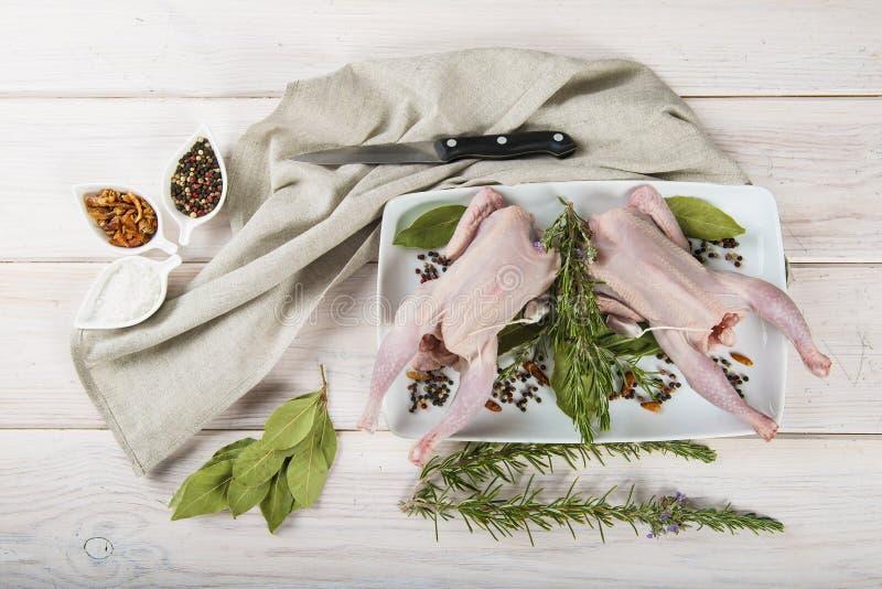 Poussin cru avec des herbes et des épices photo stock