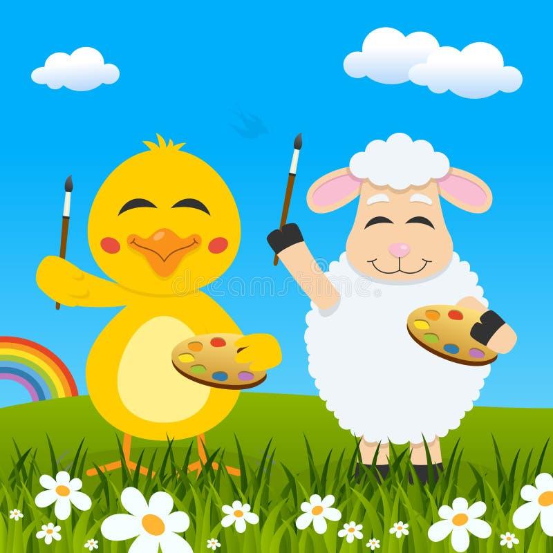 Poussin de Pâques et peintres et arc-en-ciel d'agneau illustration libre de droits