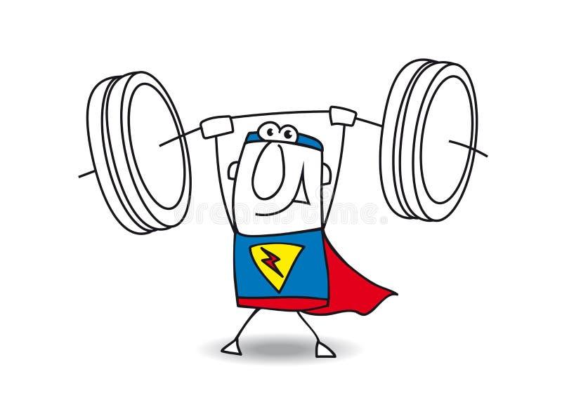 Poussoir de poids de super héros illustration de vecteur