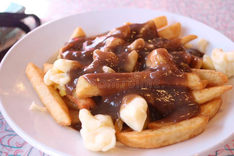 Poutine, canadian cuisine very unhealthy traditional Canadian, Quebec, Poutine stock photos