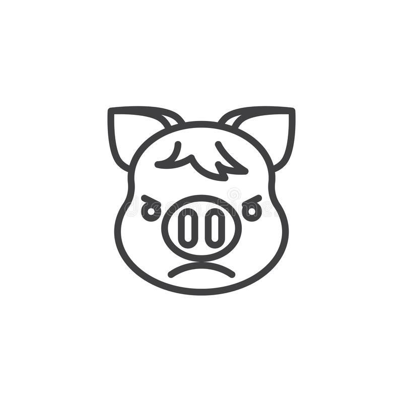 Pouting Piggy Face emoji line icon. Linear style sign for mobile concept and web design. Unhappy piggy face emoticon outline vector icon. New year Pig head stock illustration