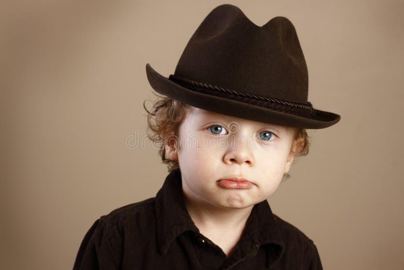 Pouting Toddler with Fedora stock photo