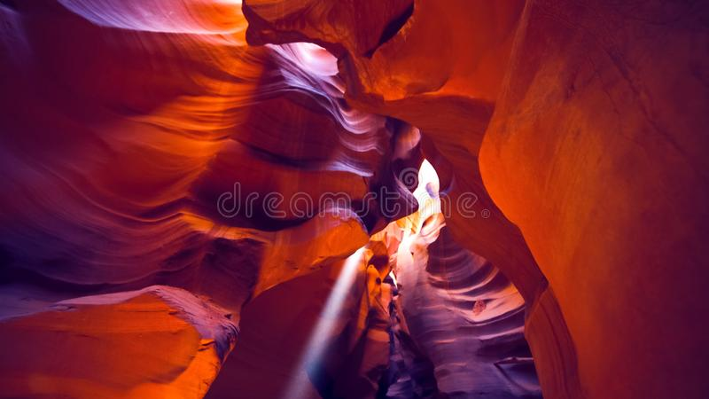 Poutre de Sun et plafond de canyon supérieur d'antilope photo stock