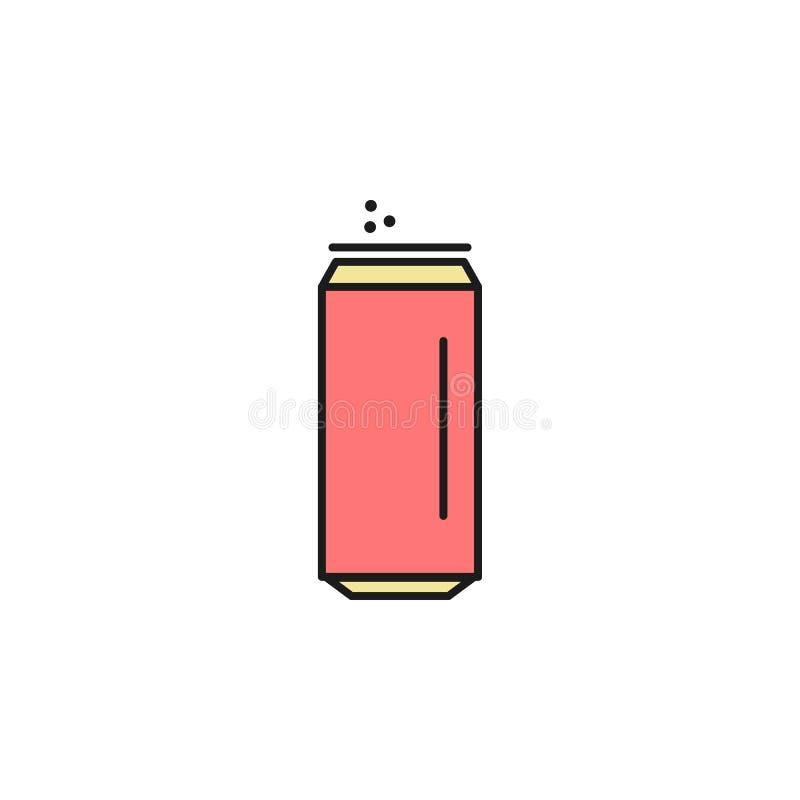 pouvez de l'icône colorée par kola d'ensemble Élément d'icône de nourriture pour les apps mobiles de concept et de Web La ligne m illustration stock