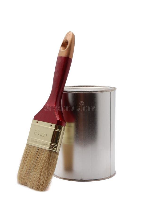 Pouvez de la peinture avec le balai photo libre de droits